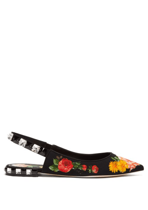 Dolce & Gabbana - Crystal Embellished Floral Print Twill Flats - Womens - Black Multi