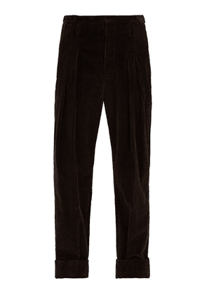 Connolly - Turned Up Cotton Blend Corduroy Trousers - Mens - Brown