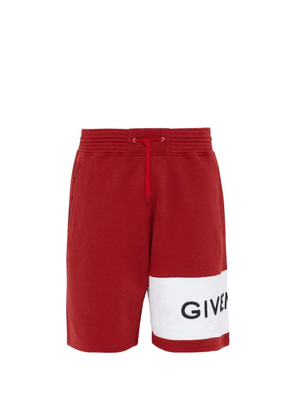 Givenchy - Logo Embroidered Cotton Shorts - Mens - Red