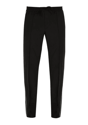 Valentino - Side Stripe Wool Blend Track Pants - Mens - Black
