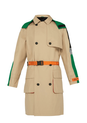 Heron Preston - Belted Cotton Blend Trench Coat - Mens - Green Multi