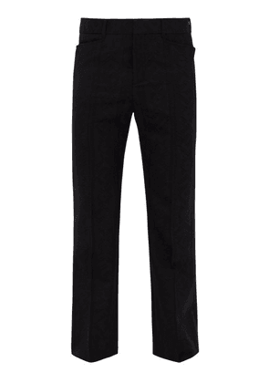 Saint Laurent - Flared Wool Jacquard Trousers - Mens - Black