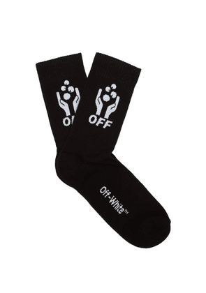 Off-white - Hands Off Knitted Cotton Blend Socks - Mens - Black