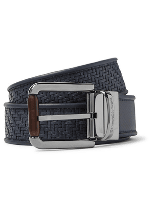 Ermenegildo Zegna - 3.5cm Blue Reversible Pelletessuta Leather Belt - Blue