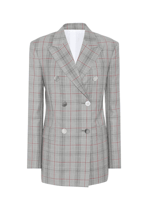 Plaid double-breasted wool blazer