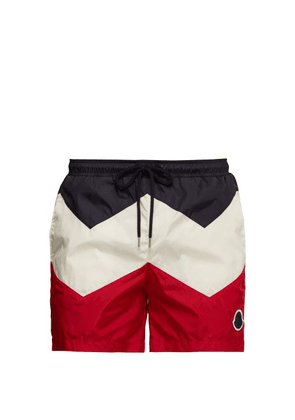 Moncler - Tricolour Chevron Swim Shorts - Mens - Navy Multi