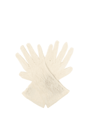 Gucci - Gg And Rose Lace Gloves - Womens - White