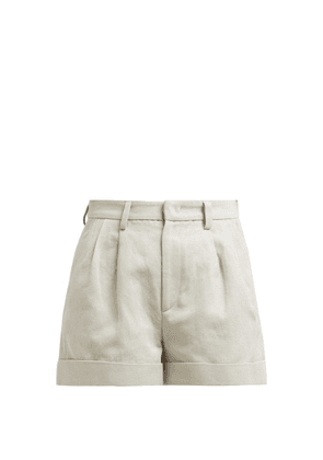 Isabel Marant - Kab Pleated Front Cotton Blend Shorts - Womens - Beige