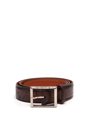 Berluti - Scritto Engraved Leather Belt - Mens - Brown
