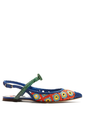 Dolce & Gabbana - Majolica Woven Wicker Slingback Pumps - Womens - Blue Multi