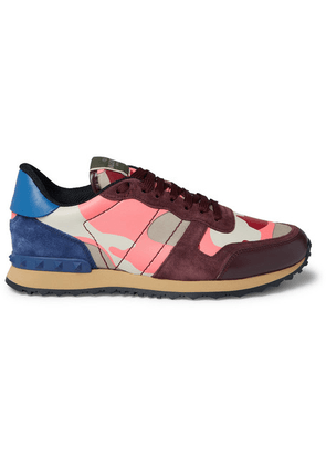 Valentino - Valentino Garavani Rockrunner Camouflage-print Canvas, Leather And Suede Sneakers - Pink