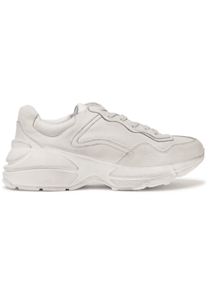 Gucci - Rhyton Distressed Leather Sneakers - Off-white