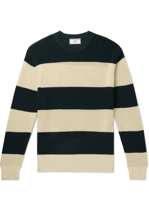 AMI - Striped Cotton Sweater - Green