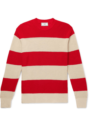 AMI - Striped Cotton Sweater - Red
