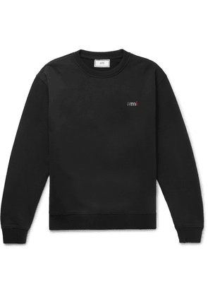 AMI - Logo-embroidered Loopback Cotton-jersey Sweatshirt - Black