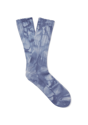 Anonymous Ism - Tie-dyed Ribbed Knitted Cotton-blend Socks - Indigo