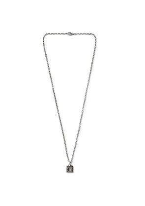 Gucci - Engraved Burnished Sterling Silver Pendant Necklace - Silver
