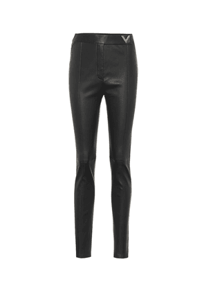 Leather high-rise skinny pants