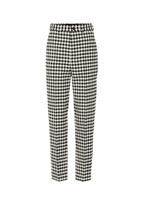 High-waisted checked pants