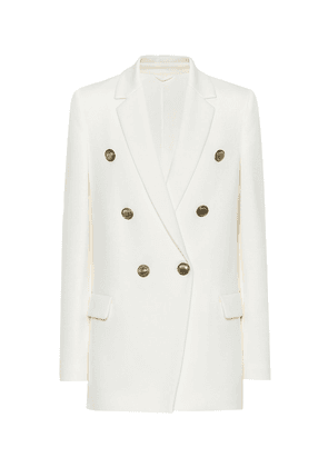 Cotton-blend double-breasted blazer