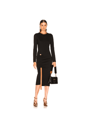 Loewe Bodycon Leather Strap Dress in Black