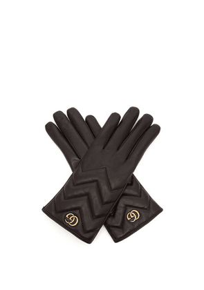 Gucci - Gg Marmont Chevron Quilted Leather Gloves - Womens - Black