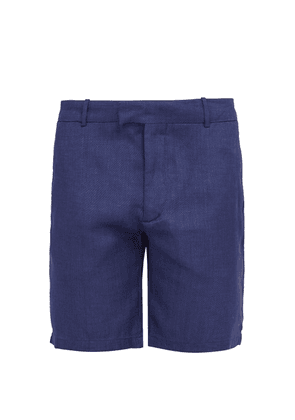 Frescobol Carioca - Tailored Linen And Cotton Blend Shorts - Mens - Navy