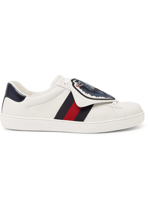 e60f0c5f4 Gucci | Ace Watersnake-trimmed Leather Sneakers | White | MILANSTYLE.COM