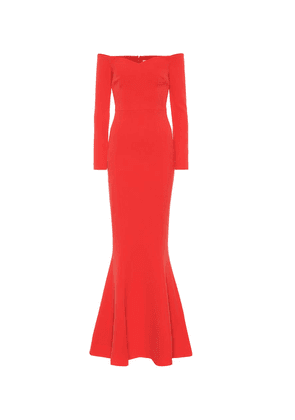 L'amour off-the-shoulder crêpe gown