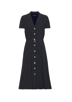Polka-dot jersey midi dress