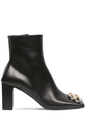80mm Logo Square Toe Leather Boots