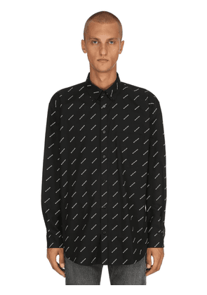 Logo Printed Cotton Poplin Shirt