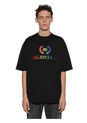 Rainbow Logo Embroidered Jersey T-shirt