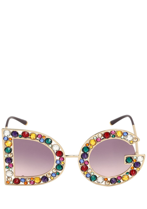Crystal Embellished Logo Sunglasses