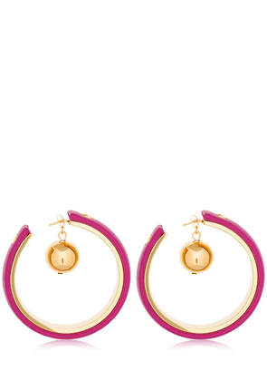 Leather Covered Hoop Earrings W/ Charm