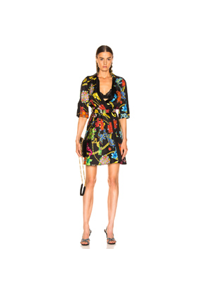 VERSACE Catene Print Dress in Abstract,Black,Paisley,Red,Yellow