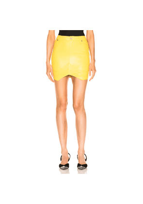 RtA Tempest Leather Skirt in Yellow