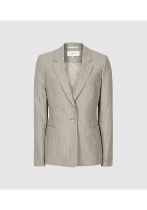 Reiss Hettie Jacket - Wool Blend Tailored Blazer in Soft Grey, Womens, Size 4