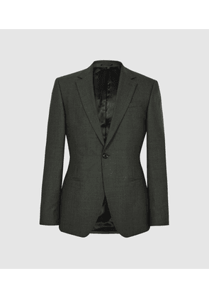 Reiss Foster - Single Breasted Wool Blazer in Green, Mens, Size 34