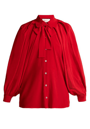 Gucci - Puff Sleeve Crepe De Chine Blouse - Womens - Red