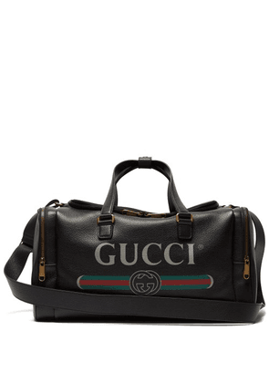 Gucci - Logo Print Grained Leather Holdall - Mens - Black