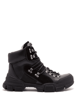 Gucci - Flashtrek Leather High Top Trainers - Womens - Black