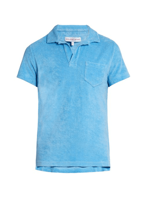 Orlebar Brown - Terry Towelling Cotton Polo Shirt - Mens - Blue