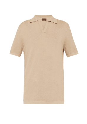 Altea - Open Collared Waffle Knit Cotton Polo T Shirt - Mens - Camel