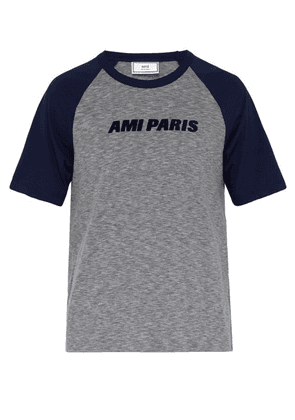 Ami - Flocked Logo Crew Neck T Shirt - Mens - Navy