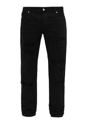 Balmain - Ripped Mid Rise Straight Leg Jeans - Mens - Black