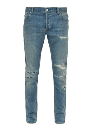 Balmain - Distressed Mid Rise Skinny Jeans - Mens - Blue