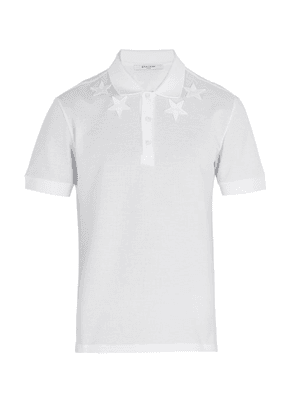 Givenchy - Star Embroidered Polo Shirt - Mens - White