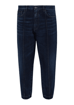 Prada - Gathered Cuff Tapered Jeans - Mens - Dark Indigo