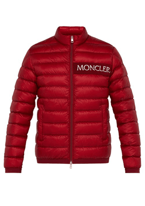Moncler - Neveu Logo Embroidered Quilted Down Jacket - Mens - Red